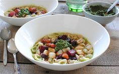 Soup Recipes Simmering With Chicken, Potato, Veggies And More: pictured: Roasted Vegetable and Pesto Minestrone
