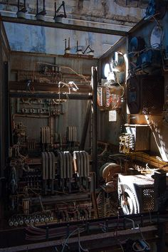 still life with wires - electrical panel interior in the abandoned mine of capo calamita