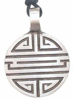 Labyrinth Maze Amulet Pewter Pendant Necklace