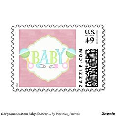 Gorgeous Custom Baby Shower Rattles Postage Stamp
