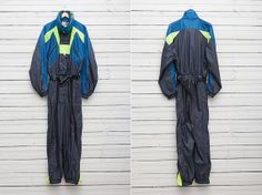1990s Grey Blue and Neon Green Skirwear Onepiece by CoverVintage, $69.00