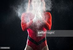 Stock Photo : Young woman preparing for gymnastics exercise