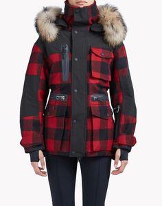 check fur trim ski parka coats & jackets Woman Dsquared2