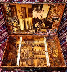 memory coffin . een originele reiskoffer uit Nederlands-Indië, met foto's en batikstoffen . by Shelly Lapré