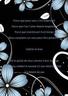 Nuit Noir Faire Part Mariage Fleur Bleu Poche Style JM511