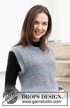 Drops Design, Sweater Knitting Patterns, Cardigan Pattern, Knit Patterns, Magazine Drops, Knitting Help, Vest Outfits, Crochet Diagram, Knit Vest