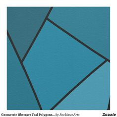 Shop Abstract Teal Geometric Shapes Polygons Fabric created by RocklawnArts.