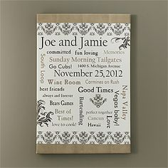 Wedding Gift Check Both Names : ... ideas on Pinterest Canvas art, Anniversary gifts and Love notes