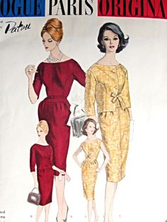 1960 Stylish PATOU Slim Dress and Jacket Pattern Vogue Paris Original 1011 Bateau Neckline Slim Day or Evening Dress Two Style Versions Fitted Jacket Bust 36 Vintage Sewing Pattern FACTORY FOLDED + Sew In Label