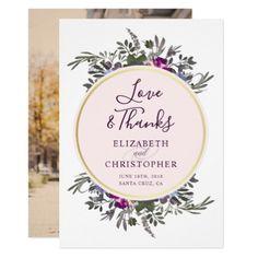 anemone u0026 rose wreath floral photo love u0026 thanks card