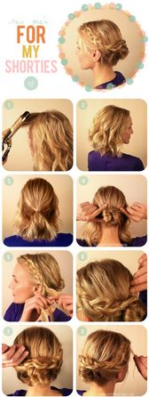 Braided, low, updo for short hair