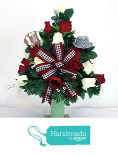 Alabama Crimson Tide Fan Vase Cemetery Flower Arrangement from Crazyboutdeco Deco Mesh Wreaths and Cemetery Arrangements https://www.amazon.com/dp/B01BK3GKGI/ref=hnd_sw_r_pi_dp_KOgHxbDC3HBQ7 #handmadeatamazon