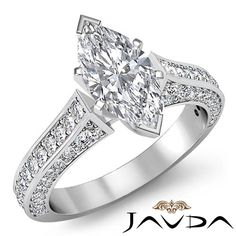 Stunning Marquise Diamond Engagement Ring GIA Certified I SI1 14k White Gold 2ct #Javda #SolitairewithAccents