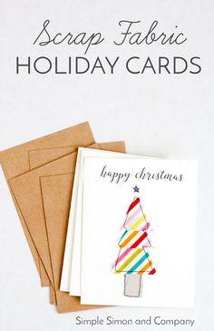 Tutorial: Scrap fabric Christmas cards