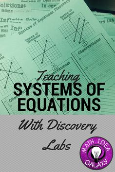 Teaching Systems of Equations with Discovery Labs. This approach gets students to do the thinking and learn about systems of equations through a guided inquiry lesson. Students made such insightful connections throughout this lesson! Algebra Activities, Maths Algebra, Math Resources, Math Math, Math Fractions, Educational Activities, Math Games, Math Teacher, Math Classroom
