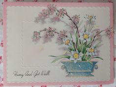 Vintage 1940s UNUSED Lovely Glittered Get Well Greeting Card Planter & Flowers