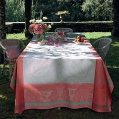 Flanerie Corail Easy Care Table Linens | Gracious Style
