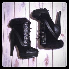 Winter Heel Bootie with Faux Fur Brand New! These Booties are SO adorable! They'll keep your feet warm while looking stylish and sexy!  5 inch heel. They are a lace up with faux fur around the trim which can be folded down to show or you can fold them up to have just a higher boot! Shoes Heeled Boots