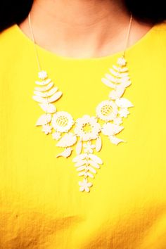 Tatty Divine - Mexican Embroidery Necklace in white | www.partyista.com