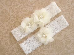 Wedding Garter, Ivory Garter Set with Toss Garter, Bridal Garter with Chiffon Blossoms pearls and rhinestones
