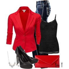 Red Blazer & Jeans...except I have a red and black handbag I'd use instead of the clutch :)