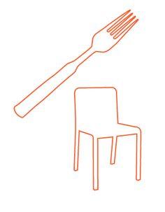 Op deze afbeelding zie je een stoel en een vork. Je ziet alleen de buitenste lijnen van het object