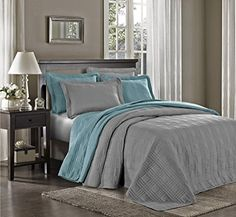 Chezmoi Collection Kingston 3-piece Oversized Bedspread Coverlet Set (King, Gray) | Home Style Studio