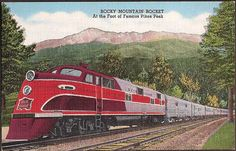 Rock Island Railroad Vintage Postcard - Rocky Mountain Rocket Train