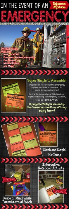 Personal Information Activity - This emergency flip book will teach students how to complete personal data and make a 9-1-1 call in the event of a family emergency.  Teaching students the correct way to handle an emergency BEFORE it arises could possibly save lives!  Perfect for teachers' end of the year activities when students are preparing to leave the classroom for summer or even during Fire Prevention Month activities!  Click here for a lesson on completing personal data for kids!