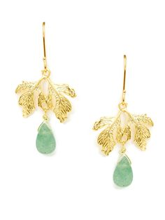Aventurine Teardrop & Gold Leaf Drop Earrings /  Ecru / Rs.2506