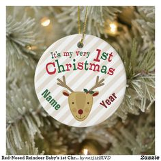 Red-Nosed Reindeer Baby's 1st Christmas Ceramic Ornament Christmas Names, Babys 1st Christmas, Cross Stitch Christmas Ornaments, Baby First Christmas Ornament, Baby Ornaments, Christmas Holidays, Red Nosed Reindeer, Cricut, Gifts