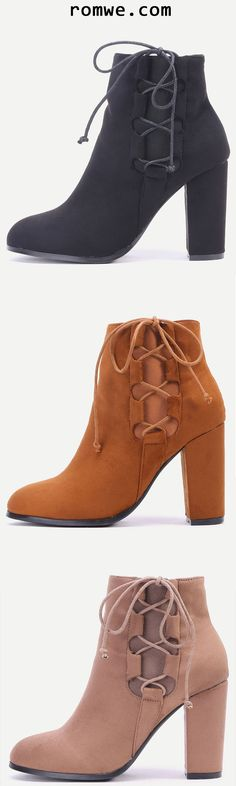 Faux Suede Lace Up Side Short Boots