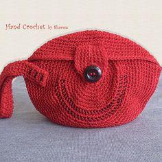 Red Medium Sized Wrist Handle Purse by HandCrochetbySharon on Etsy, $38.00