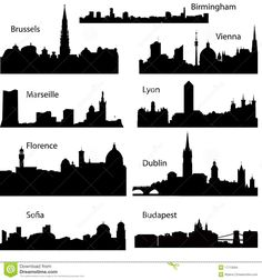 Detailed vector silhouettes of European cities part 2 Birmingham, Budapest, Dublin, Photos For Sale, Stock Photos, Lyon Marseille, Silhouette S, Continents, Geography