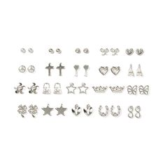 Assorted Silver Stud Earrings Set of 20 | Claire's