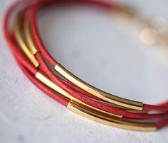 Coral Leather Bracelet with 6 Golden tubes by pardes par pardes