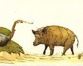 Wild boar animal -Boar hog pig - Forest wildlife animal nursery decor - boar animal life wall art - Original watercolor painting- Juan Bosco