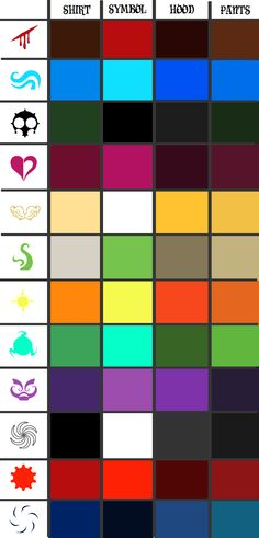 Homestuck godtier palettes. Future reference just ~in case~