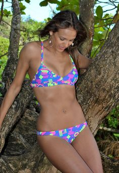 Neon Geometric Cross Back Bikini Top Pink, Purple, Green & Blue