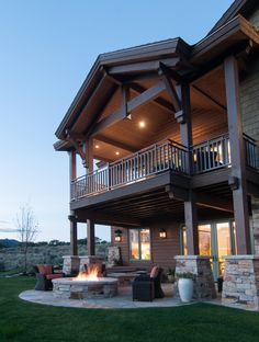 Back Exterior and Back Patio in Tuhaye by Cameo Homes Inc. Park City Showcase of Homes 2013. Firepit