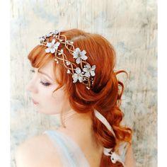 Floral vine crown, blue floral head piece, silver wedding head wreath, bridal hair accessories