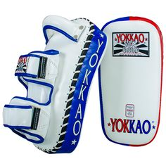 Yokkao Muay Thai Curved Kicking Pads Thai Flag Thai Flag collection EXCLUSIVE designed by Yokkao Boxing Completely Hand Made in Thailand High Quality Premium printing leather Specific designed for advanced Muay Thai Training Standard Size Martial Arts Equipment, Muay Thai Training, Mma, Thailand, Kicks, Leather, Costumes, Sideboard, Boxing