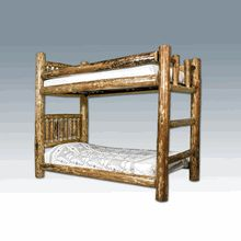 This is our handcrafted Amish Twin/Twin Lodgepole Pine Log Bunk Bed