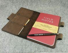 "Leather Field Notes Cover, Field Notes Wallet, ( Notebook size : 4-3/4"" x 7-1/2"" ), Free Monogramming and Surprise Gift"