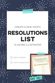 Ring in the new year with this week's video tutorial! Together, we create a custom resolutions list from scratch in Adobe Illustrator! Graphic Design Letters, Graphic Design Software, Lettering Design, Good Tutorials, Design Tutorials, New Years Resolution List, Graph Design, Free Design, Adobe Illustrator Tutorials