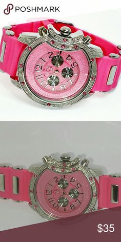 Ice Nation Pink and silver Ladies Wristwatch Medium pink silicone band. Silver bezel with silver metal accents.  Will fit virtually any ladies wrist 9.5 inches in length Shiny pink and clear stones glistens all day and night ice Nation  Accessories Watches