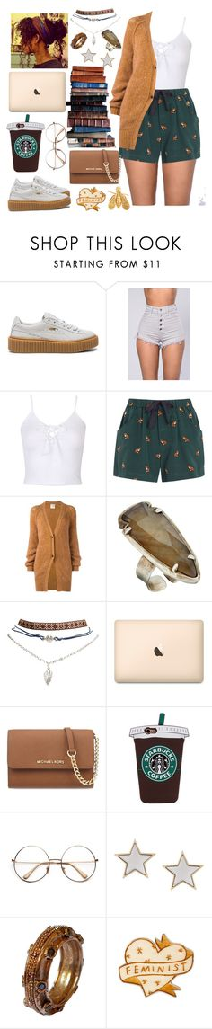 """""""Libary child"""" by raven-so-cute ❤ liked on Polyvore featuring Puma, WithChic, Sea, New York, Forte Forte, Kendra Scott, Wet Seal, Brooks, MICHAEL Michael Kors, Givenchy and Chaumet"""