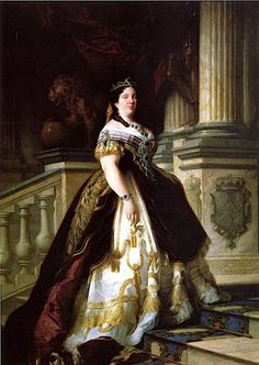 1865 Isabel II on stairs by Jose Casado del Alisal (Coleccion Real)