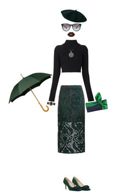 """Green pencil skirt"" by brooklynjadetoni ❤ liked on Polyvore featuring Topshop, Balmain, Nine West, Marc Jacobs, Carolina Glamour Collection, Emma Gordon London, Bottega Veneta and Lime Crime"