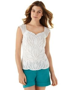 Obviously, I would wear this with a poufy skirt, not shorts. White House | Black Market Embroidered Lace Tee #whbm